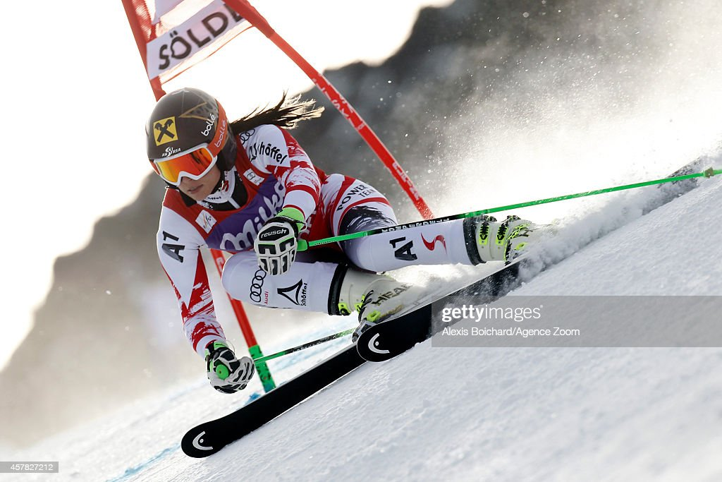 <a gi-track='captionPersonalityLinkClicked' href=/galleries/search?phrase=Anna+Fenninger&family=editorial&specificpeople=4045781 ng-click='$event.stopPropagation()'>Anna Fenninger</a> of Austria competes during the Audi FIS Alpine Ski World Cup Women's Giant Slalom on October 25, 2014 in Soelden, Austria.