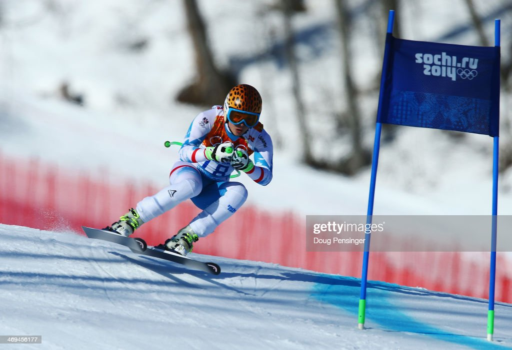 Anna Fenninger of Austria in action during the Alpine Skiing Women's SuperG on day 8 of the Sochi 2014 Winter Olympics at Rosa Khutor Alpine Center...