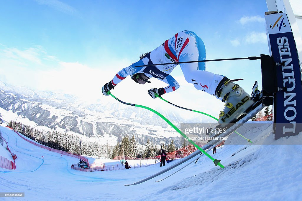 Anna Fenninger of Austria leaves the start gate to ski in the Downhill section of the Women's Super Combined during the Alpine FIS Ski World Championships on February 8, 2013 in Schladming, Austria.