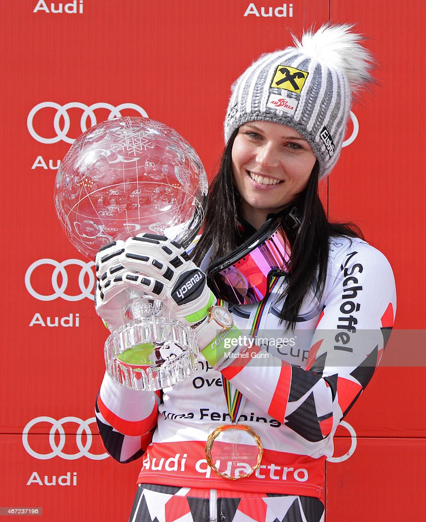 <a gi-track='captionPersonalityLinkClicked' href=/galleries/search?phrase=Anna+Fenninger&family=editorial&specificpeople=4045781 ng-click='$event.stopPropagation()'>Anna Fenninger</a> of Austria poses with the crystal globe for the overall title after the FIS Alpine Ski World Cup women's giant slalom race on March 22, 2015 in Meribel, France.