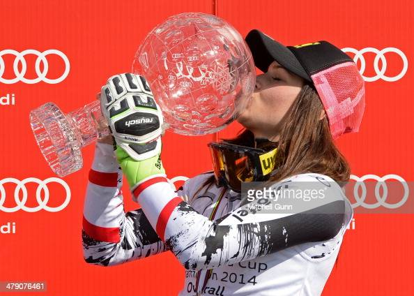 Anna Fenninger of Austria poses with the crystal globe for the overall title in the Audi FIS Alpine Skiing World Cup Finals on March 16 2014 in...