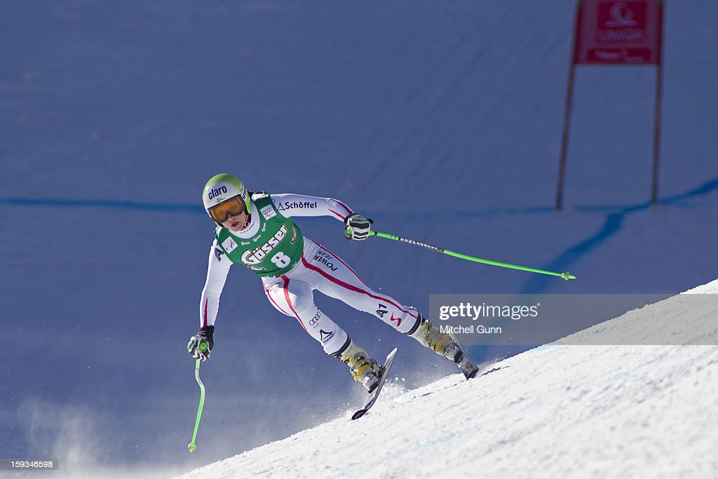 Anna Fenninger of Austria races down the Kandahar course whilst competing in the Audi FIS Alpine Ski World Cup downhill race on January 12, 2013 in St Anton, Austria.
