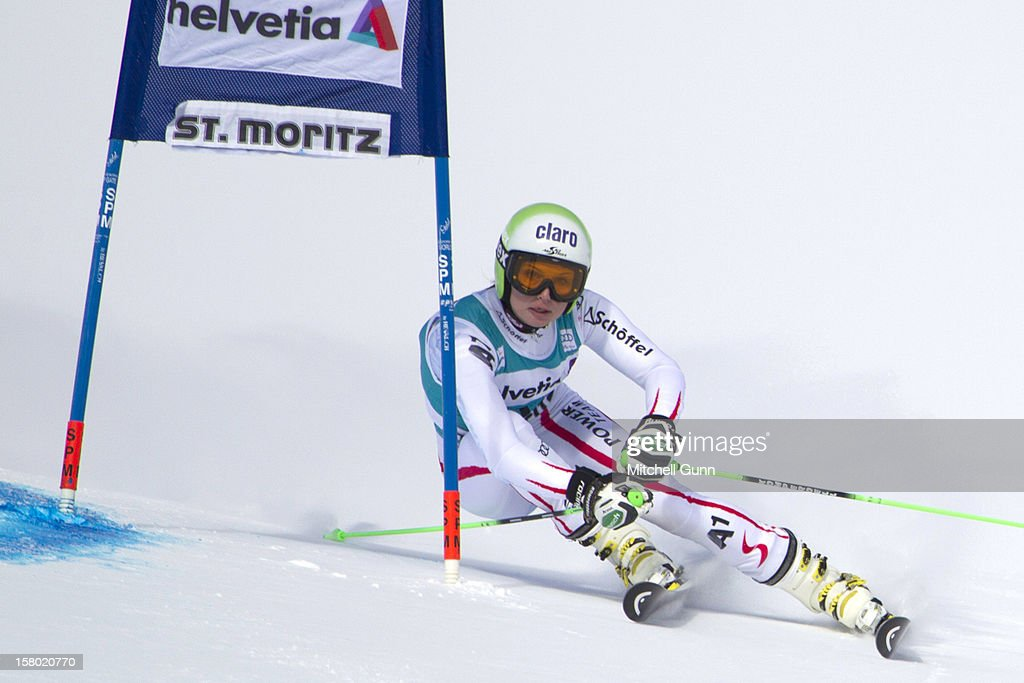 Anna Fenninger of Austria races down the piste during the Audi FIS Alpine Ski World Giant Slalom race on December 9 2012 in St Moritz, Switzerland.