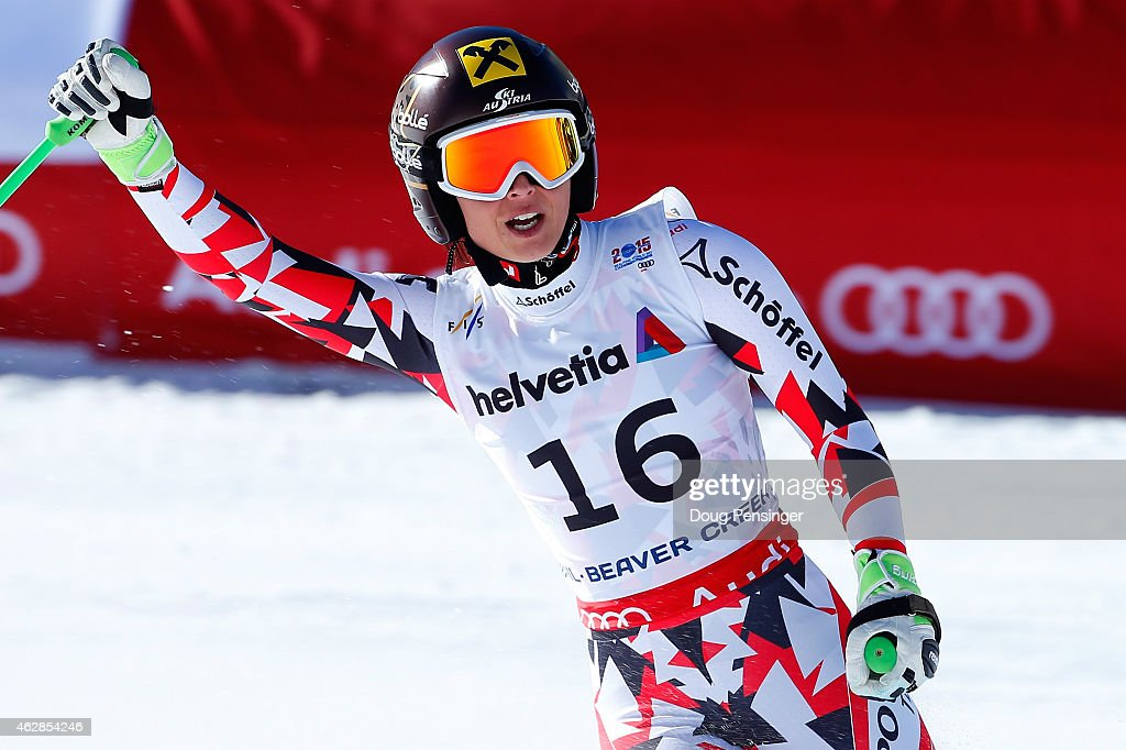 <a gi-track='captionPersonalityLinkClicked' href=/galleries/search?phrase=Anna+Fenninger&family=editorial&specificpeople=4045781 ng-click='$event.stopPropagation()'>Anna Fenninger</a> of Austria reacts after crossing the finish of the Ladies' Downhill in Red Tail Stadium on Day 5 of the 2015 FIS Alpine World Ski Championships on February 6, 2015 in Beaver Creek, Colorado.