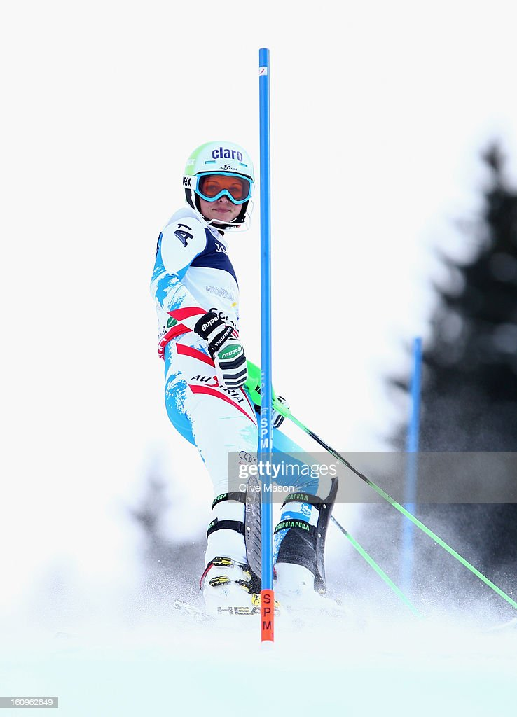 Anna Fenninger of Austria reacts as she misses a gate in the Slalom section of the Women's Super Combined during the Alpine FIS Ski World Championships on February 8, 2013 in Schladming, Austria.