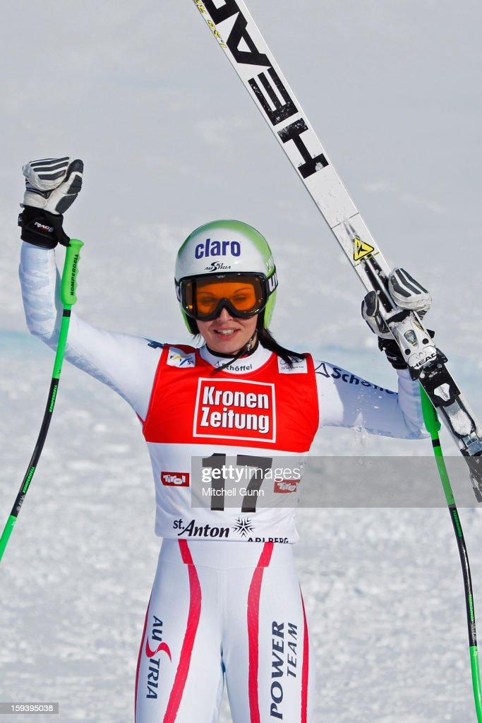 <a gi-track='captionPersonalityLinkClicked' href=/galleries/search?phrase=Anna+Fenninger&family=editorial&specificpeople=4045781 ng-click='$event.stopPropagation()'>Anna Fenninger</a> of Austria reacts in the finish area after competing in the Audi FIS Alpine Ski World Cup Super Giant Slalom (SuperG) race on January 13, 2013 in St Anton, Austria.