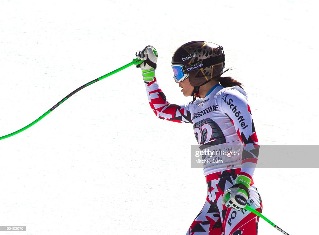 <a gi-track='captionPersonalityLinkClicked' href=/galleries/search?phrase=Anna+Fenninger&family=editorial&specificpeople=4045781 ng-click='$event.stopPropagation()'>Anna Fenninger</a> of Austria reacts in the finish area after competing in the Audi FIS Alpine Ski World Cup downhill race on March 07 2015 in Garmisch-Partenkirchen, Germany.