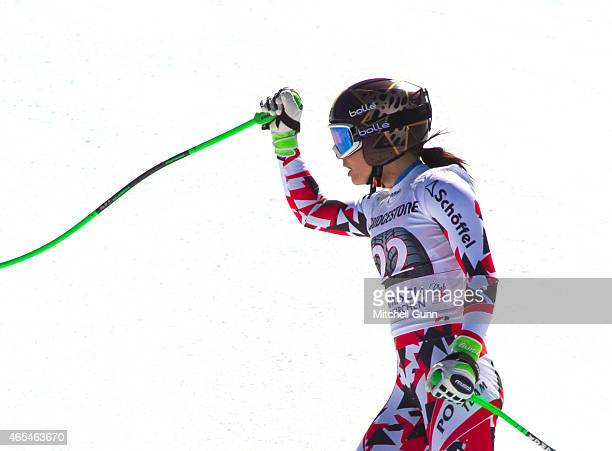 Anna Fenninger of Austria reacts in the finish area after competing in the Audi FIS Alpine Ski World Cup downhill race on March 07 2015 in...