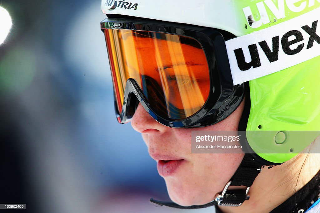 Anna Fenninger of Austria reacts in the start area before skiing in the Downhill section of the Women's Super Combined during the Alpine FIS Ski World Championships on February 8, 2013 in Schladming, Austria.