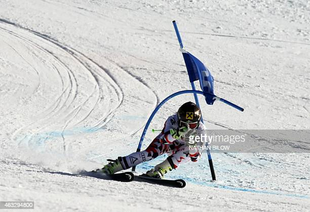 Anna Fenninger of Austria skis in her second run during the 2015 World Alpine Ski Championships women's giant slalom February 12 2015 in Beaver Creek...