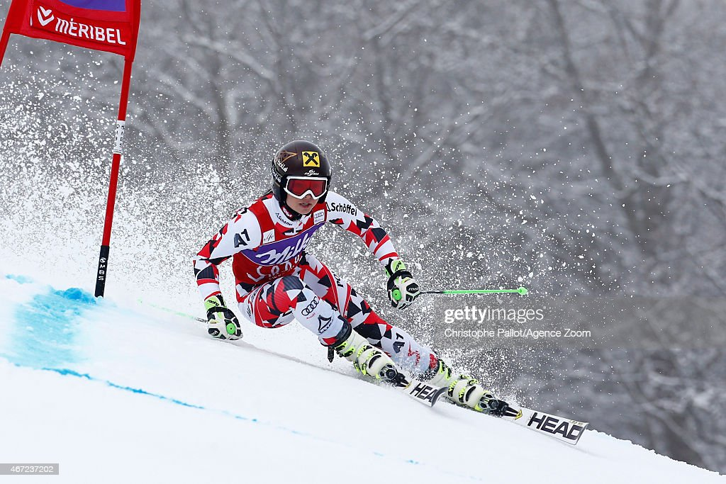 <a gi-track='captionPersonalityLinkClicked' href=/galleries/search?phrase=Anna+Fenninger&family=editorial&specificpeople=4045781 ng-click='$event.stopPropagation()'>Anna Fenninger</a> of Austria takes 1st place and wins the overall Giant Slalom World Cup globe during the Audi FIS Alpine Ski World Cup Finals Women's Giant Slalom on March 22, 2015 in Meribel, France.