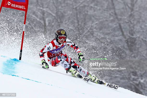 Anna Fenninger of Austria takes 1st place and wins the overall Giant Slalom World Cup globe during the Audi FIS Alpine Ski World Cup Finals Women's...