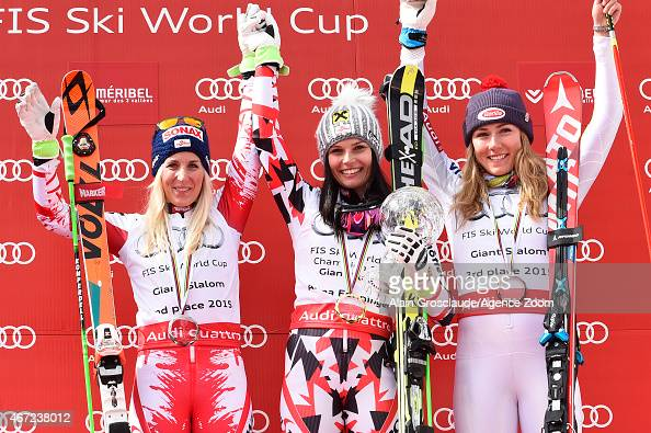 Anna Fenninger of Austria takes 1st place and wins the overall Giant Slalom World Cup globe EvaMaria Brem of Austria takes 2nd place in the race and...
