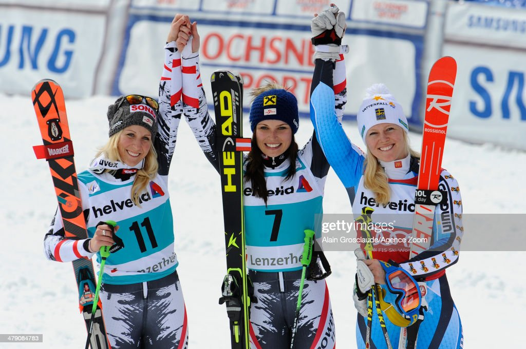 <a gi-track='captionPersonalityLinkClicked' href=/galleries/search?phrase=Anna+Fenninger&family=editorial&specificpeople=4045781 ng-click='$event.stopPropagation()'>Anna Fenninger</a> of Austria takes 1st place and wins the overall giant slalom World Cup globe, Eva-Maria Brem of Austria takes 2nd place, <a gi-track='captionPersonalityLinkClicked' href=/galleries/search?phrase=Jessica+Lindell-Vikarby&family=editorial&specificpeople=722573 ng-click='$event.stopPropagation()'>Jessica Lindell-Vikarby</a> of Sweden takes 3rd place and comes second in the overall giant slalom World Cup during the Audi FIS Alpine Ski World Cup Finals on March 16, 2014 in Lenzerheide, Switzerland.