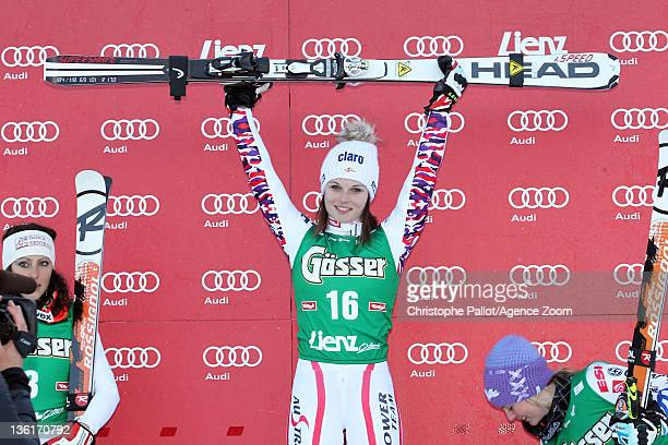 Anna Fenninger of Austria takes 1st place during the Audi FIS Alpine Ski World Cup Women's Giant Slalom on December 28 2011 in Lienz Austria