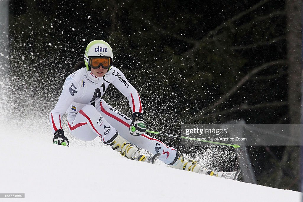 Anna Fenninger of Austria takes 1st place during the Audi FIS Alpine Ski World Cup Women's Giant Slalom on December 28, 2012 in Semmering, Austria.