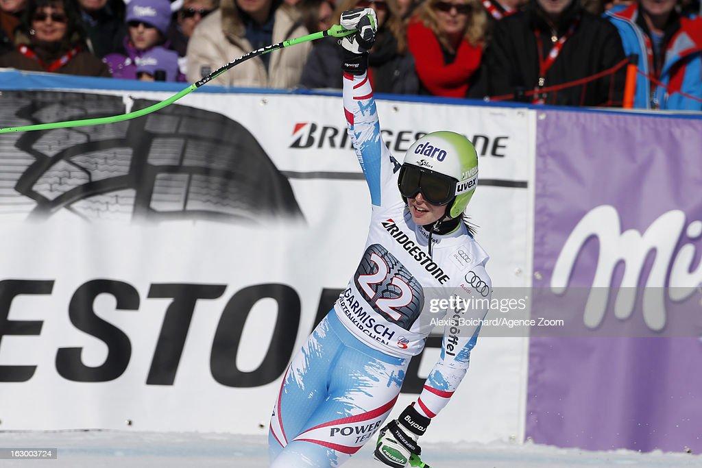 Anna Fenninger of Austria takes 1st place during the Audi FIS Alpine Ski World Cup Women's SuperG on March 03, 2013 in Garmisch-Partenkirchen, Germany.