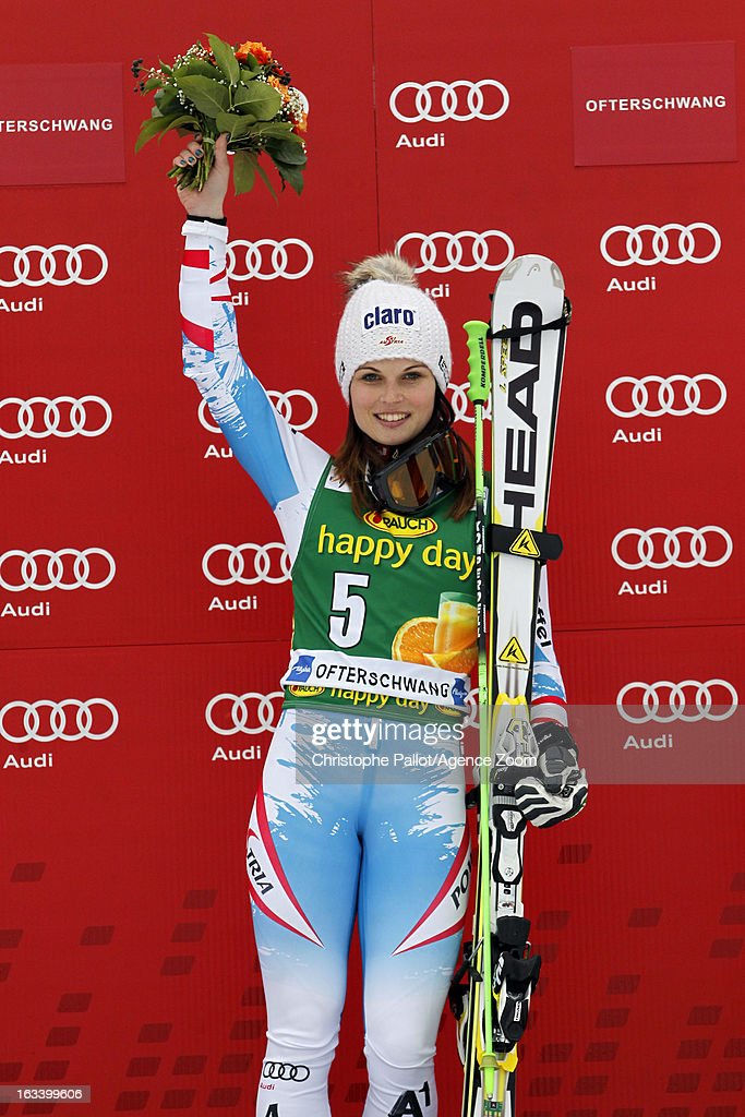 <a gi-track='captionPersonalityLinkClicked' href=/galleries/search?phrase=Anna+Fenninger&family=editorial&specificpeople=4045781 ng-click='$event.stopPropagation()'>Anna Fenninger</a> of Austria takes 1st place during the Audi FIS Alpine Ski World Cup Women's Giant Slalom on March 9, 2013 in Ofterschwang, Germany.