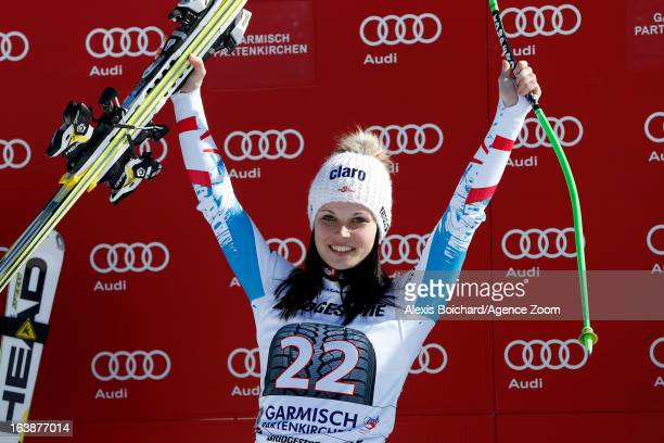 Anna Fenninger of Austria takes 1st place during the Audi FIS Alpine Ski World Cup Women's SuperG on March 03 2013 in GarmischPartenkirchen Germany