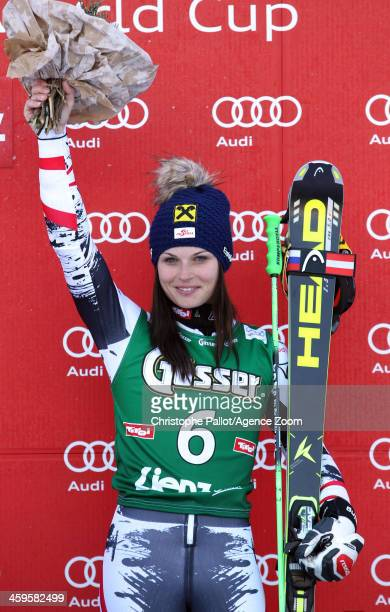 Anna Fenninger of Austria takes 1st place during the Audi FIS Alpine Ski World Cup Women's Giant Slalom on December 28 2013 in Lienz Austria