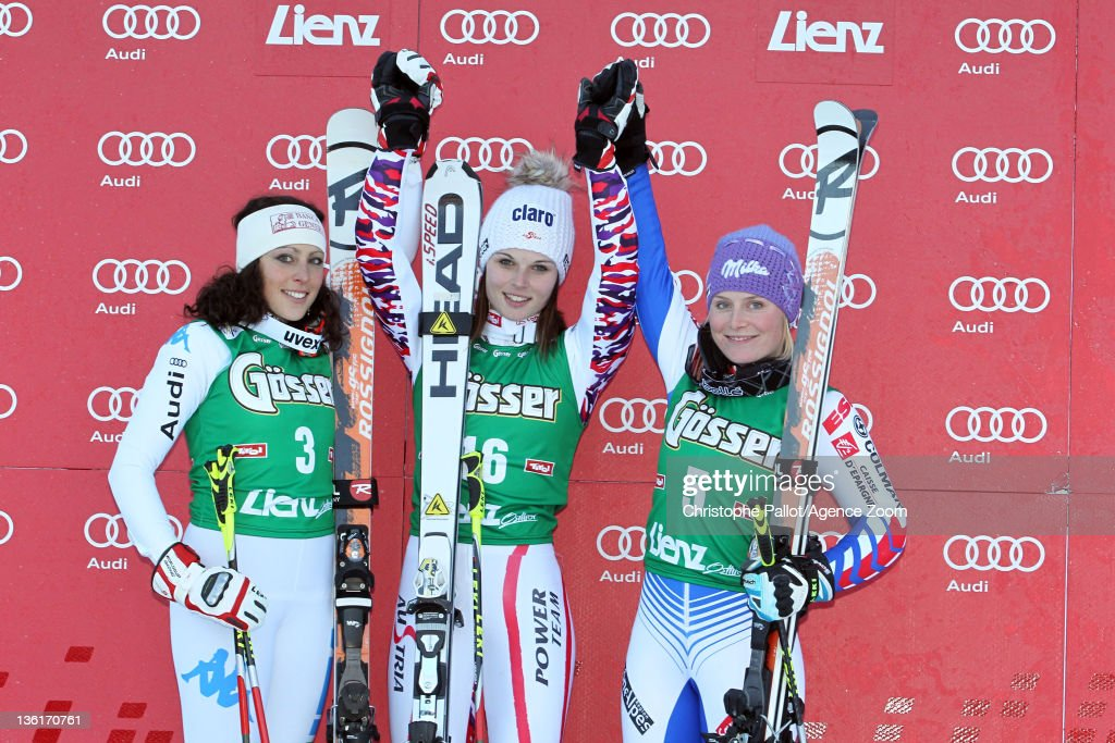 <a gi-track='captionPersonalityLinkClicked' href=/galleries/search?phrase=Anna+Fenninger&family=editorial&specificpeople=4045781 ng-click='$event.stopPropagation()'>Anna Fenninger</a> of Austria takes 1st place, <a gi-track='captionPersonalityLinkClicked' href=/galleries/search?phrase=Federica+Brignone&family=editorial&specificpeople=6543838 ng-click='$event.stopPropagation()'>Federica Brignone</a> of Italy takes 2nd place, <a gi-track='captionPersonalityLinkClicked' href=/galleries/search?phrase=Tessa+Worley&family=editorial&specificpeople=855344 ng-click='$event.stopPropagation()'>Tessa Worley</a> of France takes 3rd place during the Audi FIS Alpine Ski World Cup Women's Giant Slalom on December 28, 2011 in Lienz, Austria.