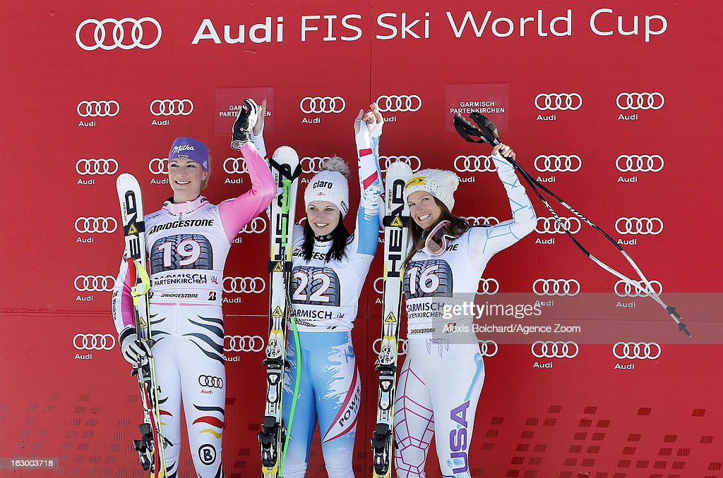 Anna Fenninger of Austria takes 1st place,Maria Hoefl-Riesch of Germany takes 2nd place,Julia Mancuso of the USA takes 3rd place during the Audi FIS Alpine Ski World Cup Women's SuperG on March 03, 2013 in Garmisch-Partenkirchen, Germany.