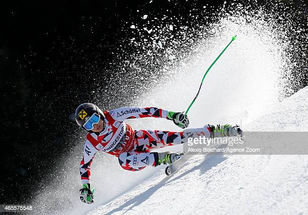 Anna Fenninger of Austria takes the 3rd place during the Audi FIS Alpine Ski World Cup Women's Super G on March 08 2015 in GarmischPartenkirchen...