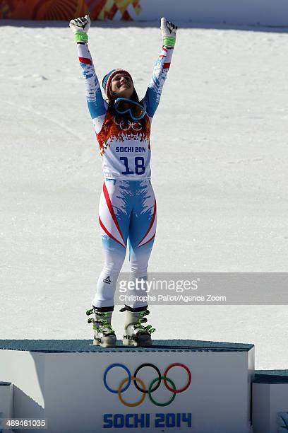 Anna Fenninger of Austria wins the gold medal during the Alpine Skiing Women's SuperG at the Sochi 2014 Winter Olympic Games at Rosa Khutor Alpine...