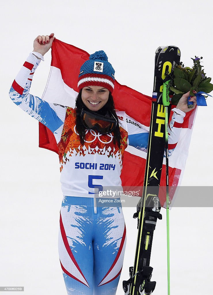Anna Fenninger of Austria wins the silver medal during the Alpine Skiing Women's Giant Slalom at the Sochi 2014 Winter Olympic Games at Rosa Khutor Alpine Centre on February 18, 2014 in Sochi, Russia.