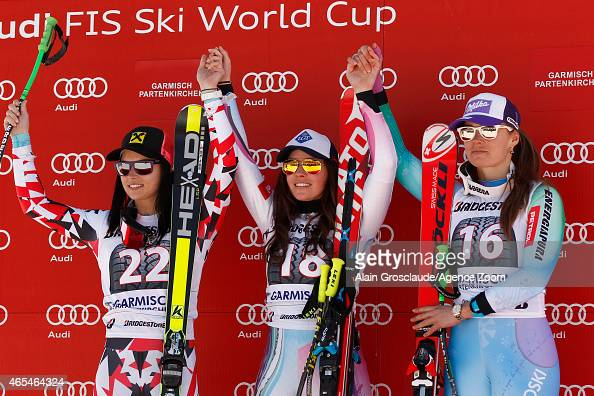 Anna Fenninger Tina Weirather Tina Maze on the podium during the Audi FIS Alpine Ski World Cup Women's Downhill on March 07 2015 in...