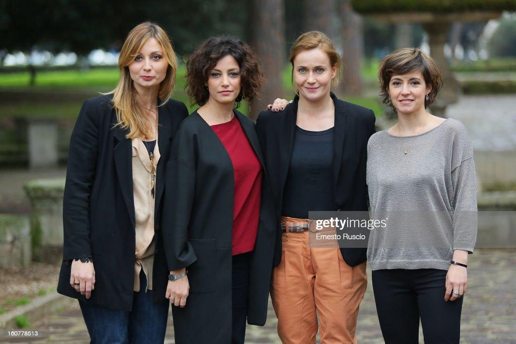 Anna Ferzetti, Alessia Barela, Lucia Mascino and Vanessa Compagnucci attend the 'Una Mamma Imperfetta' photocall at Tree Bar on February 5, 2013 in Rome, Italy.