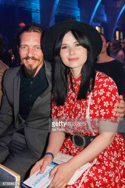 Anna Fischer and her boyfriend Leonard Andrae during the German Computer Games Award 2017 at WECC on April 26 2017 in Berlin Germany