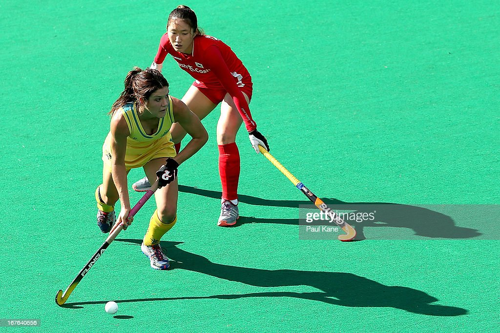 Anna Flanagan of Australia looks to pass the ball during the International Test match between the Australian Hockeyroos and Korea at Perth Hockey Stadium on April 27, 2013 in Perth, Australia.