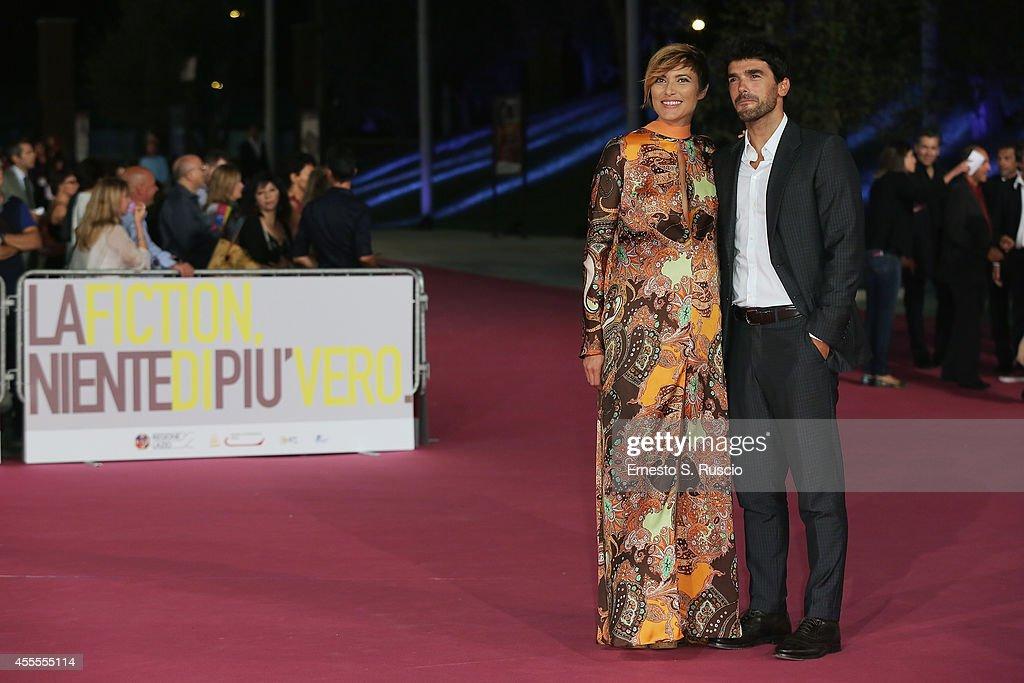 Anna Foglietta and Paolo Sopranzetti attend the 'Ragion Di Stato' pink carpet at Auditorium Parco Della Musica as a part of Roma Fiction Fest 2014 on September 16, 2014 in Rome, Italy.