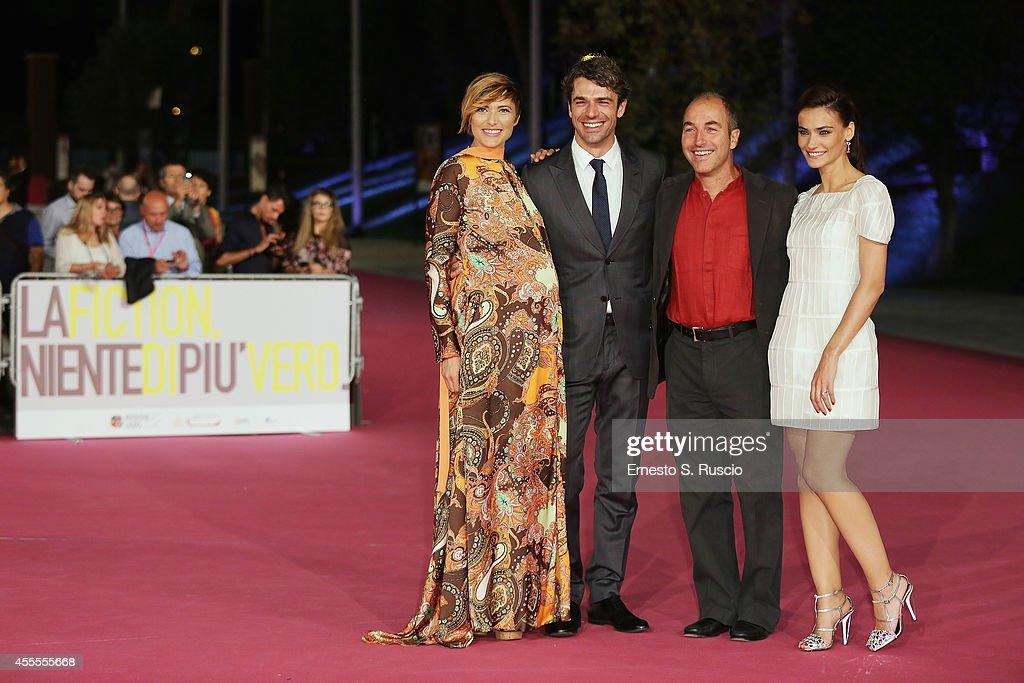 Anna Foglietta, Luca Argantero, Marco Pontecorvo and Saadet Aksoy attend the 'Ragion Di Stato' pink carpet at Auditorium Parco Della Musica as a part of Roma Fiction Fest 2014 on September 16, 2014 in Rome, Italy.
