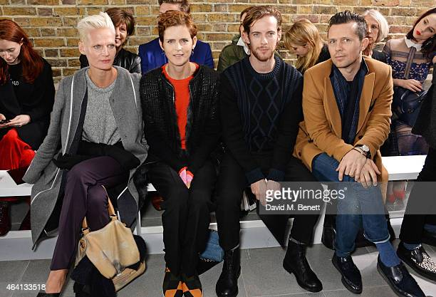 Anna Freemantle Stella Tennant Luke Treadaway and Robert Montgomery attend the Pringle of Scotland Fully Fashioned Exhibition and Autumn/Winter 2015...
