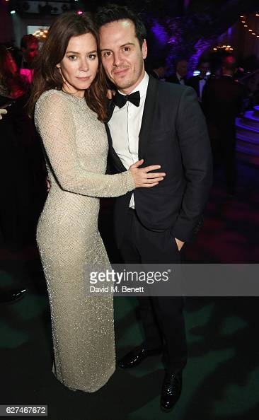 Anna Friel and Andrew Scott attend The Ireland Fund Of Great Britain's 'The Winter Ball' in the Midnight Garden of Shakespeare's Globe on December 3...