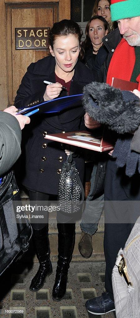 Anna Friel leaving Vaudeville Theatre on January 25, 2013 in London, England.