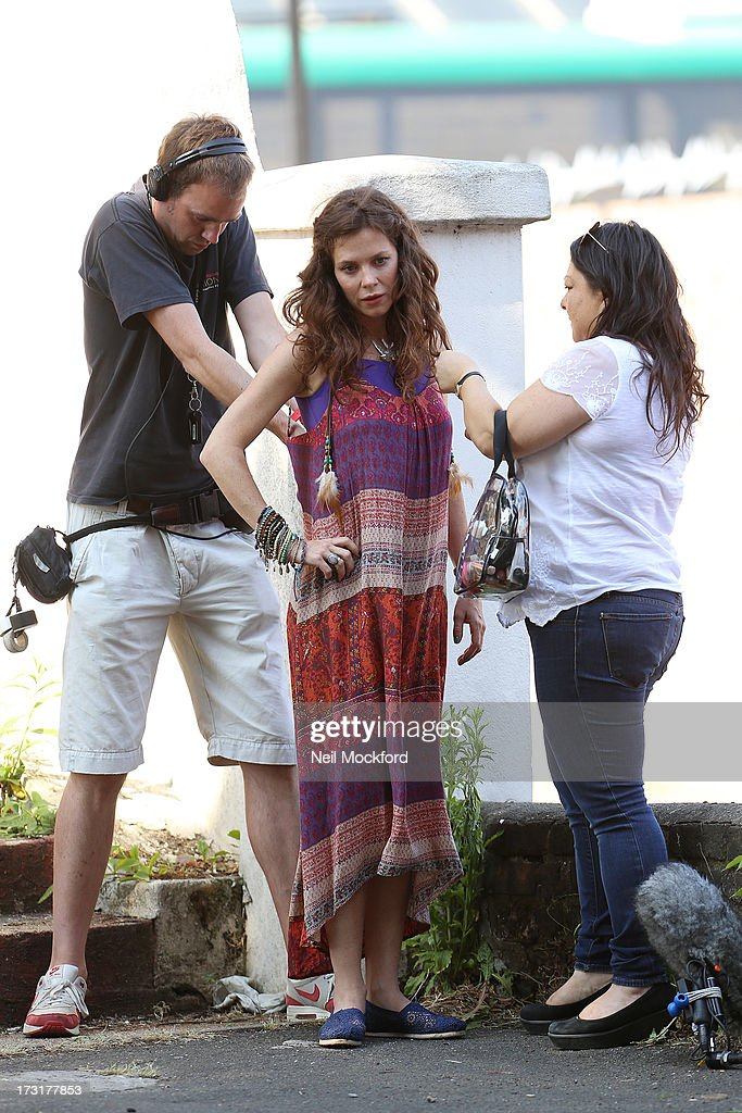 <a gi-track='captionPersonalityLinkClicked' href=/galleries/search?phrase=Anna+Friel&family=editorial&specificpeople=202225 ng-click='$event.stopPropagation()'>Anna Friel</a> on the Film Set of 'Good People' on July 9, 2013 in London, England.