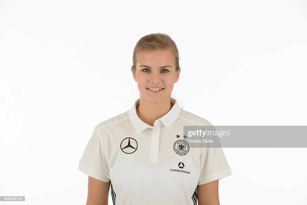 Anna Gasper poses in the new home jersey of the German women's national soccer team on November 25, 2016 in Chemnitz, Germany.