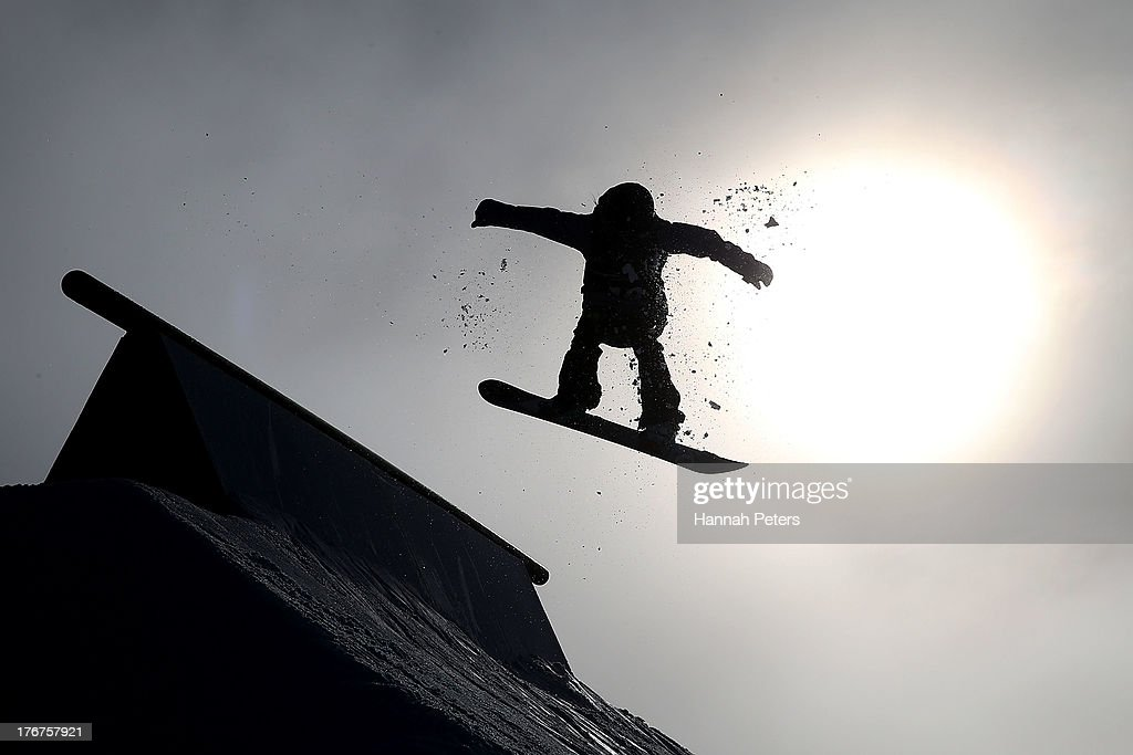 Anna Gasser of Austria competes in the warm up prior to the FIS Snowboard Slopestyle World Cup qualifying during day five of the Winter Games NZ at Cardrona Alpine Resort on August 19, 2013 in Wanaka, New Zealand.