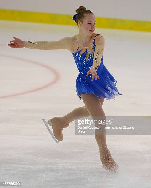 Anna Grace Davidson of the United States skates during the junior ladies free skating of ISU Junior Grand Prix of figure skating on September 11 2015...