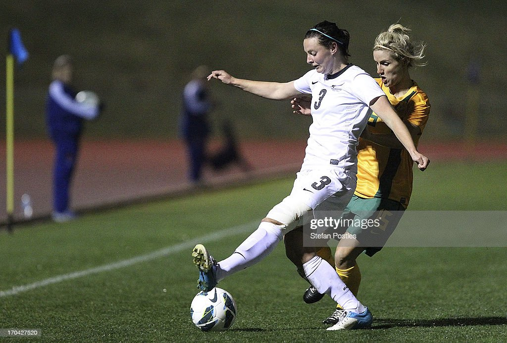 Anna Green of New Zealand controls the ball during game one of the Women's International Series between the Australian Matildas and the New Zealand Football Ferns at AIS on June 13, 2013 in Canberra, Australia.