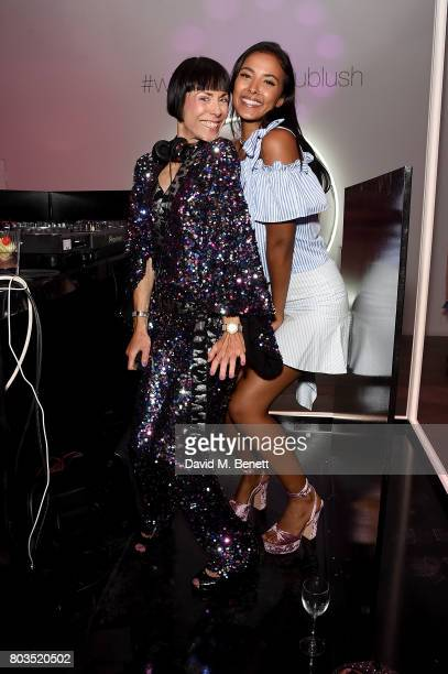 Anna Greenwood and Maya Jama DJ at cosmetics brand NARs summer party alongside VIP friends and fans of the brand at Protein on June 29 2017 in London...
