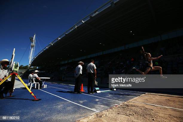 Anna Grimaldi of New Zealand competes in the womens open long jump during day six of the Australian Athletics Championships at Sydney Olympic Park...