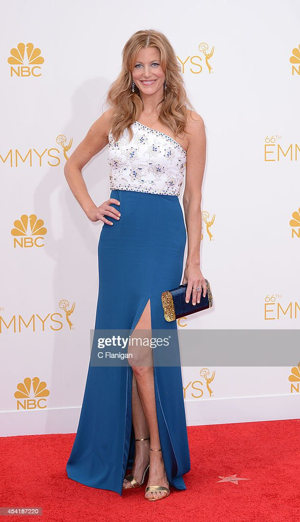 Anna Gunn arrives to the 66th Annual Primetime Emmy Awards at Nokia Theatre LA Live on August 25 2014 in Los Angeles California
