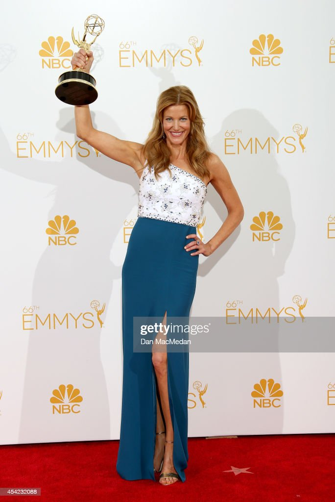 <a gi-track='captionPersonalityLinkClicked' href=/galleries/search?phrase=Anna+Gunn&family=editorial&specificpeople=589359 ng-click='$event.stopPropagation()'>Anna Gunn</a> poses in the press room with her award for Outstanding Supporting Actress in a Drama Series for 'Breaking Bad' at Nokia Theatre L.A. Live on August 25, 2014 in Los Angeles, California.