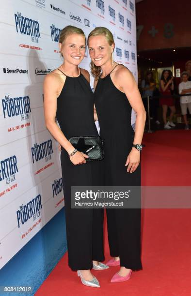 Anna Hahner and her sister Lisa Hahner during the 'Das Pubertier' Premiere at Mathaeser Filmpalast on July 4 2017 in Munich Germany