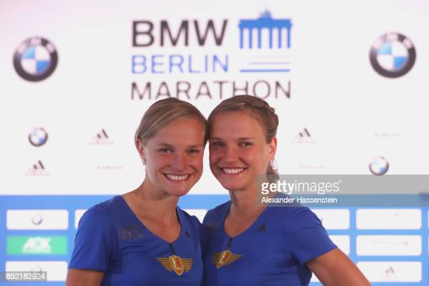 Anna Hahner attends with her sister Lisa Hahner a kids press conference at Hotel InterContinental Berlin ahead of the BMW Berlin Marathon 2017 on...