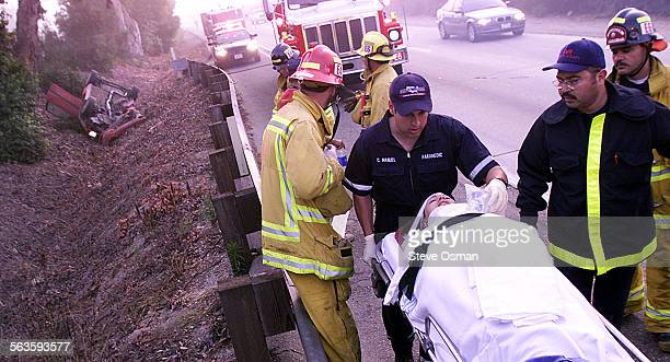 Anna Hanks 18 of Las Vegas NV is taken to an ambulance A single vehicle roll over accident on Highway 126 east of Kimball Road in Ventura sent the...